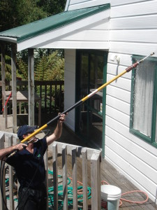 Cleaning-Front-side-Aframe-house-in-AKL